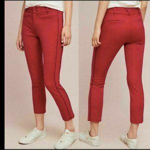 NWT Anthropologie Red Slim Crop Essential Pants 0